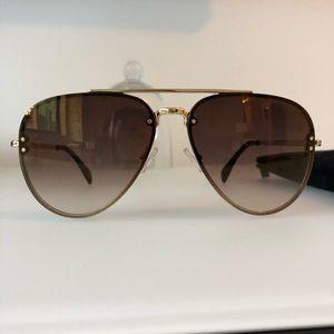 961e6a2cd5c4 Celine Accessories   Small Mirror Gold Metal Aviator Sun   Poshmark